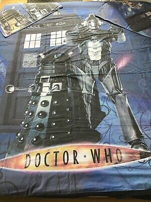 Dr Who Double Reversible Duvet Cover & 2 Pillowcase Set Excellent Condition • 24£