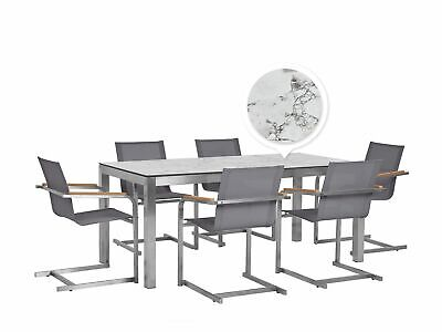 Patio Dining Set HPL Marble Finish 180x90cm Table Grey Chairs Grosseto/Cosoleto • 1,599.99£