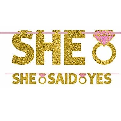WEDDING AND ENGAGEMENT She Said Yes LETTER BANNER ~ Party Supplies Decorations • 4.33£