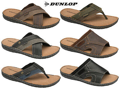 Mens Dunlop Sandals Memory Foam Flip Flop Toe Post Mules Faux Leather Shoes  • 17.99£