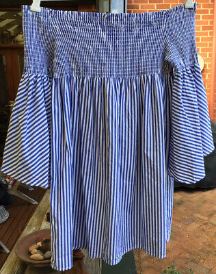 AU32 • Buy Zara Woman Blue White Stripe Smocked Off Shoulder Flare Sleeve Mini Dress S 8-10