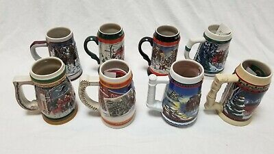 $ CDN100.72 • Buy Lot Of 8 BUDWEISER Holiday Christmas Beer Stein Collection 1989-2003