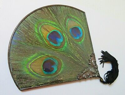 Vintage Peacock Feather Fan-Shaped Mirror Stained Glass • 97.33£