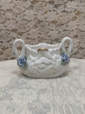 $20 • Buy Milk Glass Swan Planter With Flowers Details