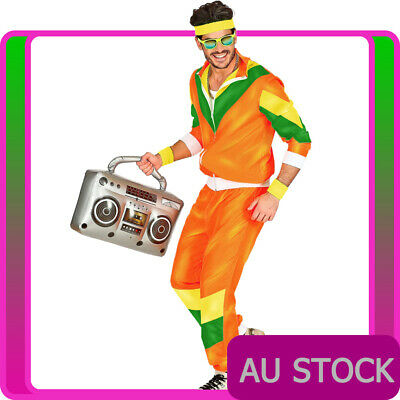 AU39.89 • Buy Mens 80s Costume Height Fashion Scouser Tracksuit Shell Suit Orange 1980s Party