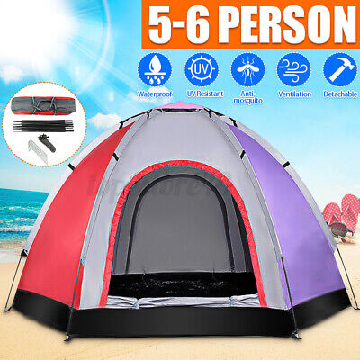 AU54.34 • Buy 6 Person Camping Hiking Dome Tent Outdoor Waterproof Sun-proof Double Doors