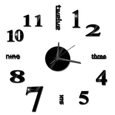 DIY Wall Clock Frameless Mirror Wall Clock Large Mute Wall Stickers For P3S4 • 3.89£