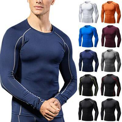 Mens T-Shirt Compression Base Layers Long Sleeve Sports Fitness Running Tops Tee • 12.29£