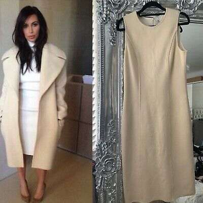 Wolford Winter White Ivory Cream Stretch  Wool Midi Pencil Bodycon Dress Uk 14 • 49£