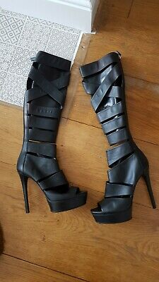 GUCCI Platform High Heeled Black Leather Cut Out HELENA Open Toe Boots. 38 • 150£