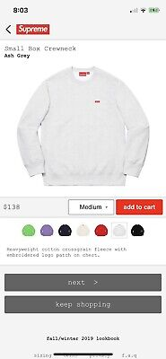 $ CDN198.68 • Buy Supreme 100% Authentic Small Box Logo Crewneck Sweatshirt Size Medium Ash Grey