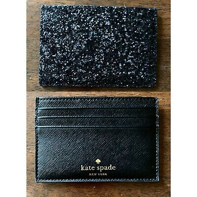 $ CDN28.93 • Buy New $49 Kate Spade Greta Court  Black Glitter Card Holder Wallet Case Sequin