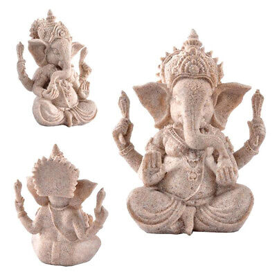 Ganesh Buddha Statue Sandstone Elephant Sculpture Fengshui Figurine Craft UK • 4.18£