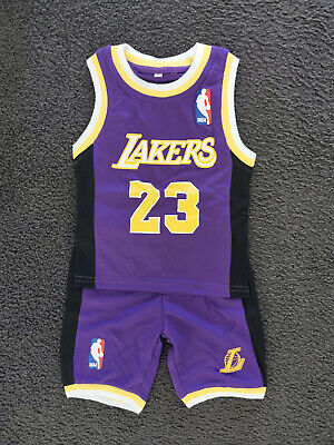 AU25.95 • Buy Au Stock Kids Toddler NBA Basketball Jersey Top Shorts Laker #23 James