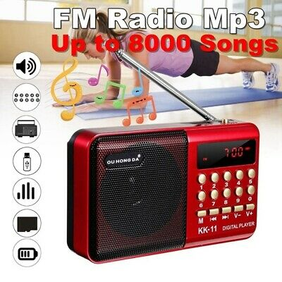 Mini Portable FM Radio LCD Digital MP3 Player Speaker AUX Rechargeable UK • 7.88£