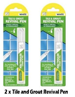 2 X Tile Grout Whitening Pen Refresher White Kitchen Shower Bathroom Mould • 2.99£