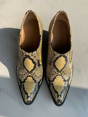 Chloe Rylee Black/ Yellow Snake Effect Print Ankle Boots Size 39/ UK 6 • 195£