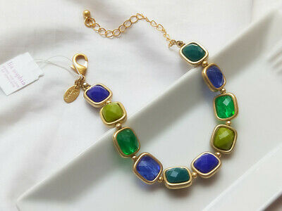 $ CDN13.35 • Buy Lia Sophia Signed Jewelry Matte Gold Tone Bracelet Colorful Beads Lobster Bangle
