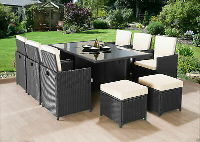 Cube Rattan Garden Furniture Set Chairs Table Outdoor Patio Wicker 10 Seats • 549.99£