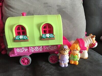 ELC Happyland Roaming Rose Gypsy Caravan With Figures And Shire Horse. • 11£