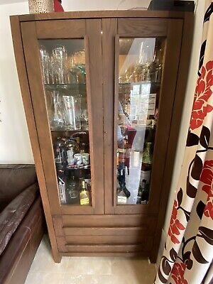 Real Wood Glass Fronted Double Door Display / Drinks Cabinet With Drawers • 20£