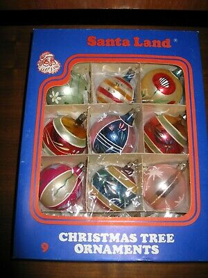 $ CDN19.99 • Buy Box Of Vintage Christmas Ornaments,lot Of 9, Glass, Made In Poland. Santa Land.