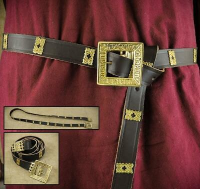 Brown Leather Medieval Noblemans Long Belt For Costume Re-enactment Stage & LARP • 22£