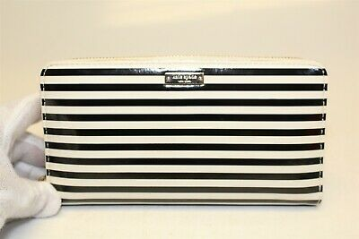 $ CDN8.57 • Buy Kate Spade New York Black & White Patent Leather Zip Around Clutch Wallet