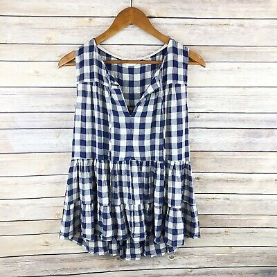 $ CDN32.94 • Buy Anthropologie 11 1 Tylho Blue Gingham Skirted Tiered Peplum Tie Neck Top Size L