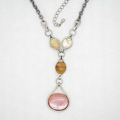 $ CDN13.17 • Buy Retired Lia Sophia Jewelry Genuine Stone Pink Silver Plated Necklace Tigers Eye