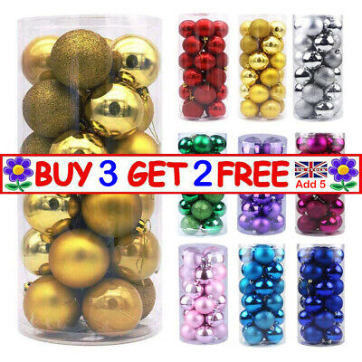 Christmas Tree Xmas Balls Decorations Baubles Party Wedding Ornament 24Pcs/Pack • 5.24£