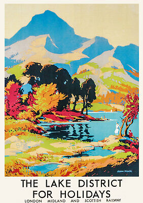 VINTAGE RAILWAY POSTER The Lake District Travel Wall Art PRINT A3 A4 • 8.99£
