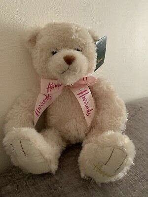 Harrods Bear Sand Coloured With Pink Ribbon Bow Baby Gift New • 25£