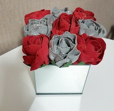 Artificial Glitter GREY And Red Flowers Arrangement In Mirrored Cube Glass Vase  • 18£