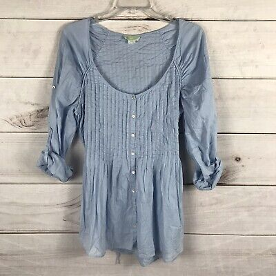 $ CDN7.58 • Buy Anthropologie Lil Womens Top Size 10 Blue Roll Sleeve Pleated Tie Back Blouse