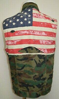 £21.72 • Buy Smoke Rise Button Up Sleeveless Vest Camouflage Camo American Flag Mens Sz Large