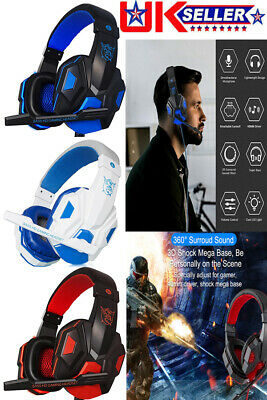 Gaming Headset USB Wired LED Headphones Stereo With Mic For PC Computer Laptop • 3.90£