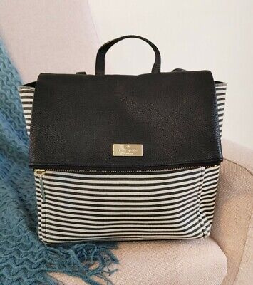 $ CDN120 • Buy Kate Spade Highland Place Oliver Backpack Purse Striped Black And White