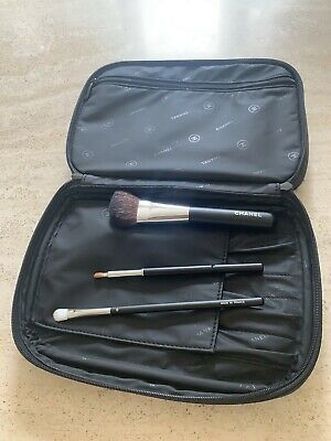 Chanel Make Up Bag And Brushes X3  Lip  Eye And Powder Brushes • 49£