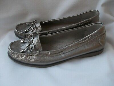 Ladies M&s Footglove Metallic Leather Loafers / Shoes Size 6 / 39 - Gorgeous • 4.99£