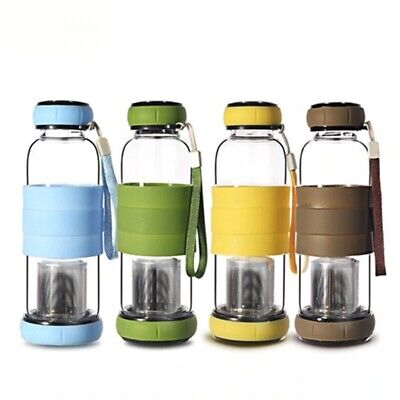 Glass Water Bottle With Tea Infuser Two Way Communication Anti Scald Outdoor  • 18.63£
