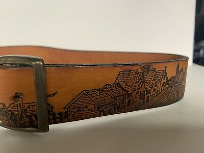 $30 • Buy Men's Hand Stained Leather Belt Brown Top Grain Cowhide Fish Made In USA Size 32