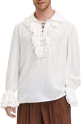 $28.50 • Buy Men's Ruffled Renaissance Costume Shirt Medieval Steampunk Pirate Colonial Tops
