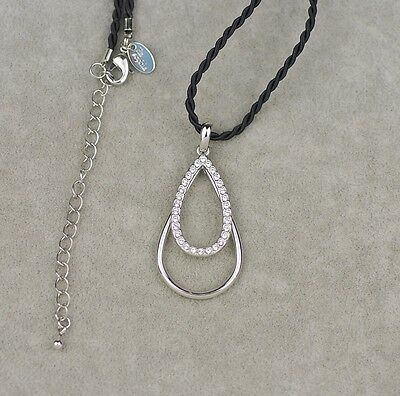 $ CDN9.21 • Buy 19'' Lia Sophia Signed Jewelry Twisted Rope Chain Necklace Cut Crystal Pendant