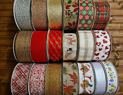 Kirkland Luxury Wire Edged Ribbon Craft Decoration 63mm Glitter Bow Wrapping • 19.99£