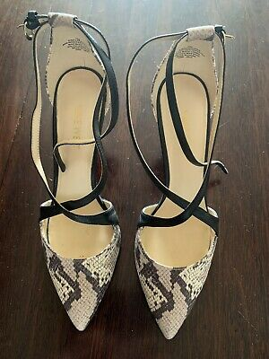 AU15 • Buy Nine West Size 7 Snakeskin And Black Strappy Heels