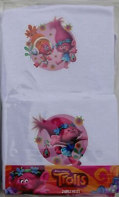 2 Pack Girls Trolls Vests Character Sleeveless Underwear Top • 4.99£