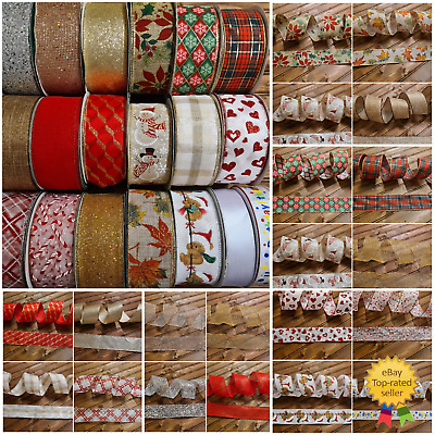Wire Edged Ribbon FROM £1 Christmas Craft Decoration Glitter Bow Wrapping • 2£