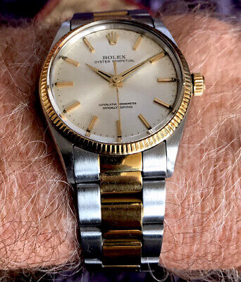 AU3150 • Buy Superb Rolex Oyster Perpetual Cal.1560 Gold/Steel Automatic With Box & Minty! NR