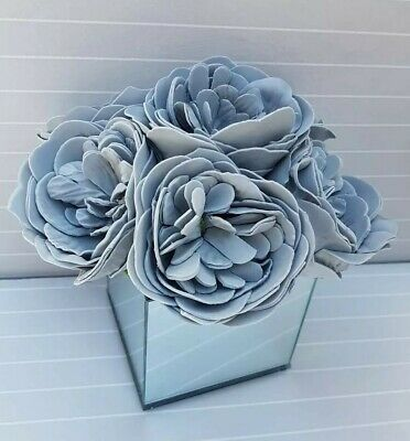Artificial Grey Peonies Flowers In Mirrored Cube Glass Vase CENTREPIECE  • 21.99£
